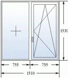 Двухстворчатое окно в дом 504 серии