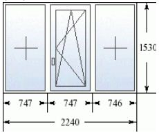 Стандартное трехстворчатое окно в дом 504 серии
