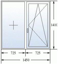 Двухстворчатое окно в 505 серию домов