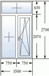 Стандартные размеры т-образного окна в сталинке